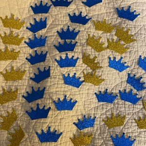 Prince Gold Crown Blue Crown Confetti 22 gold new